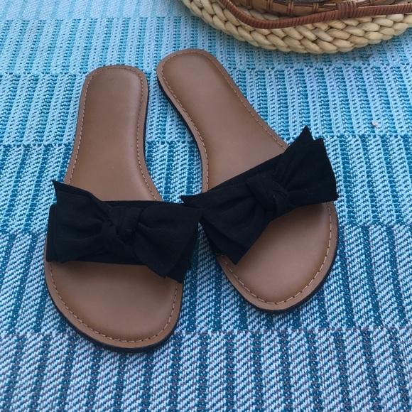 Shoes   Black Bow Slide Sandals Size 8